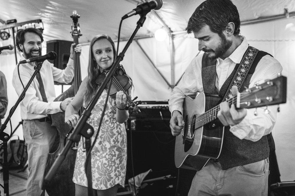 Denver bluegrass band Big Time Rascals plays at a Colorado wedding reception