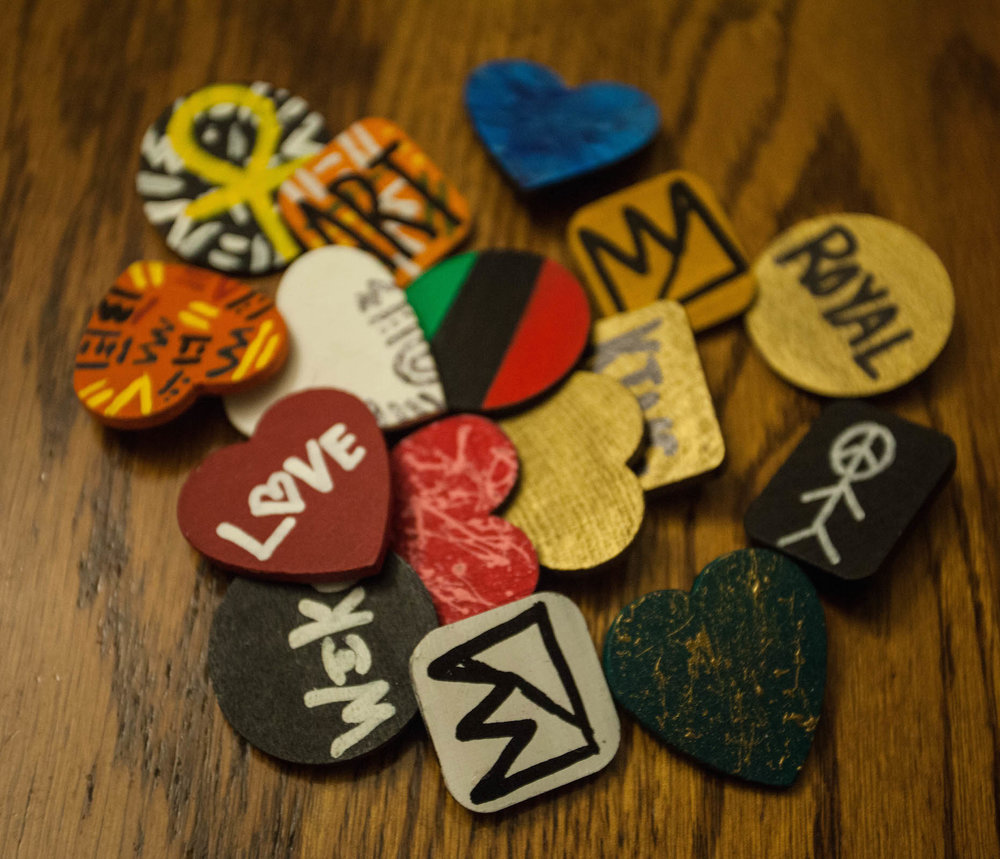 Hand painted wood pins