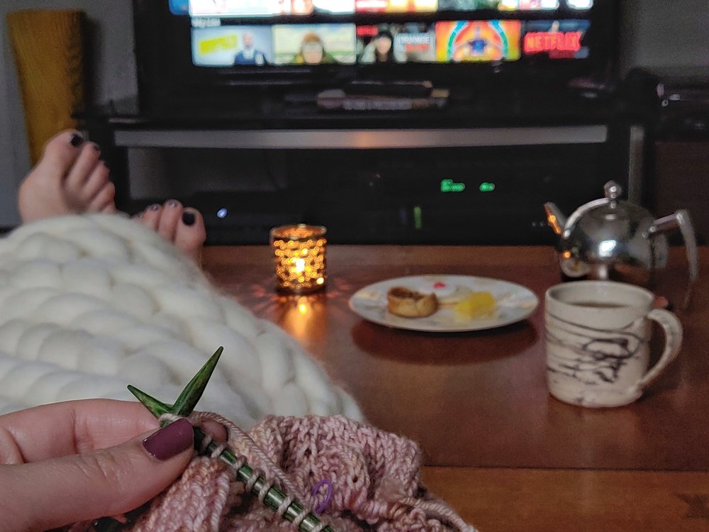 Netflix and knitting… a not-so-surprising hygge combo at Verdun HQ!
