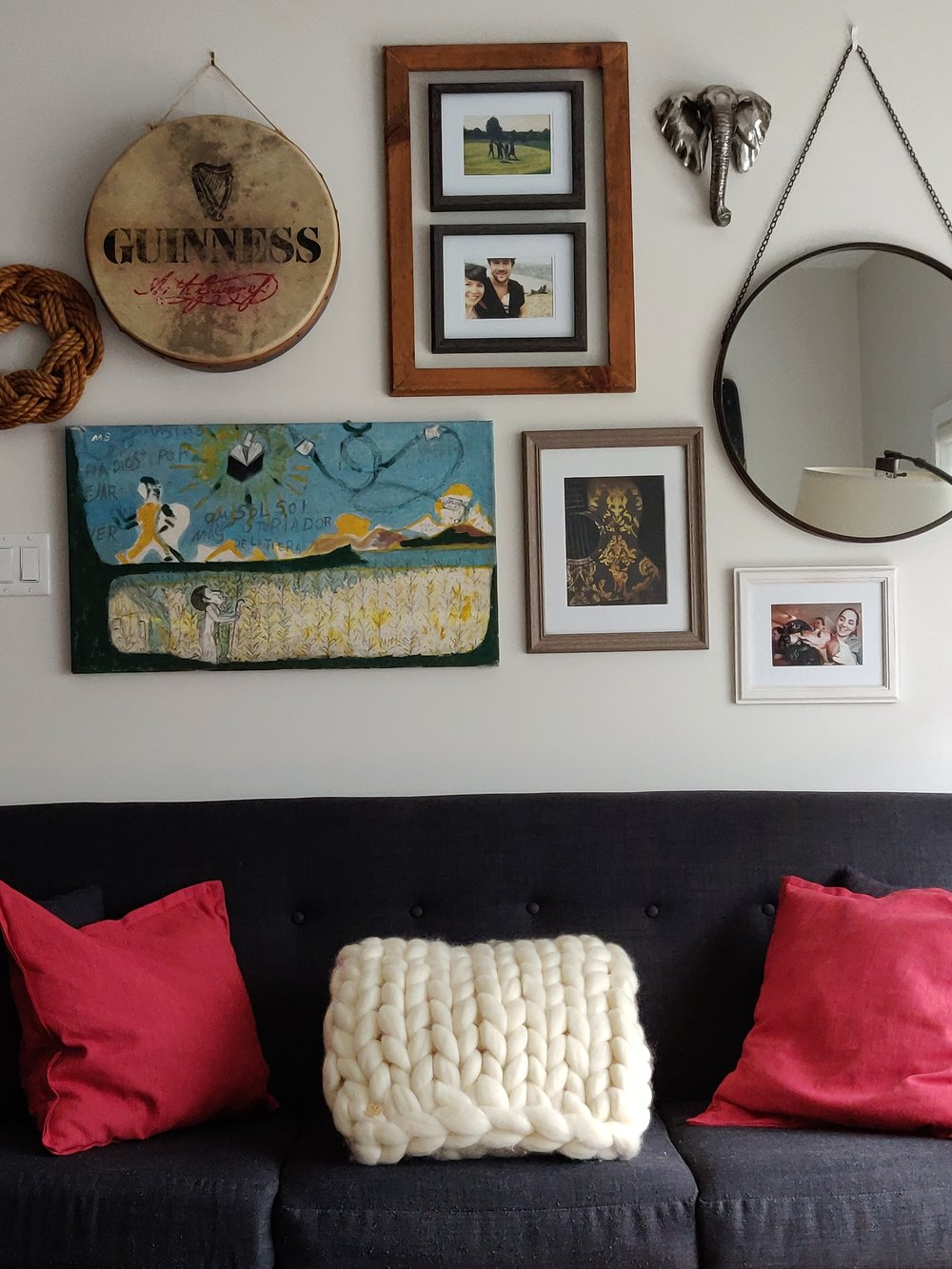If neutral walls are a must, use your unique style to bring your personality to your home by hanging art and nostalgic items.