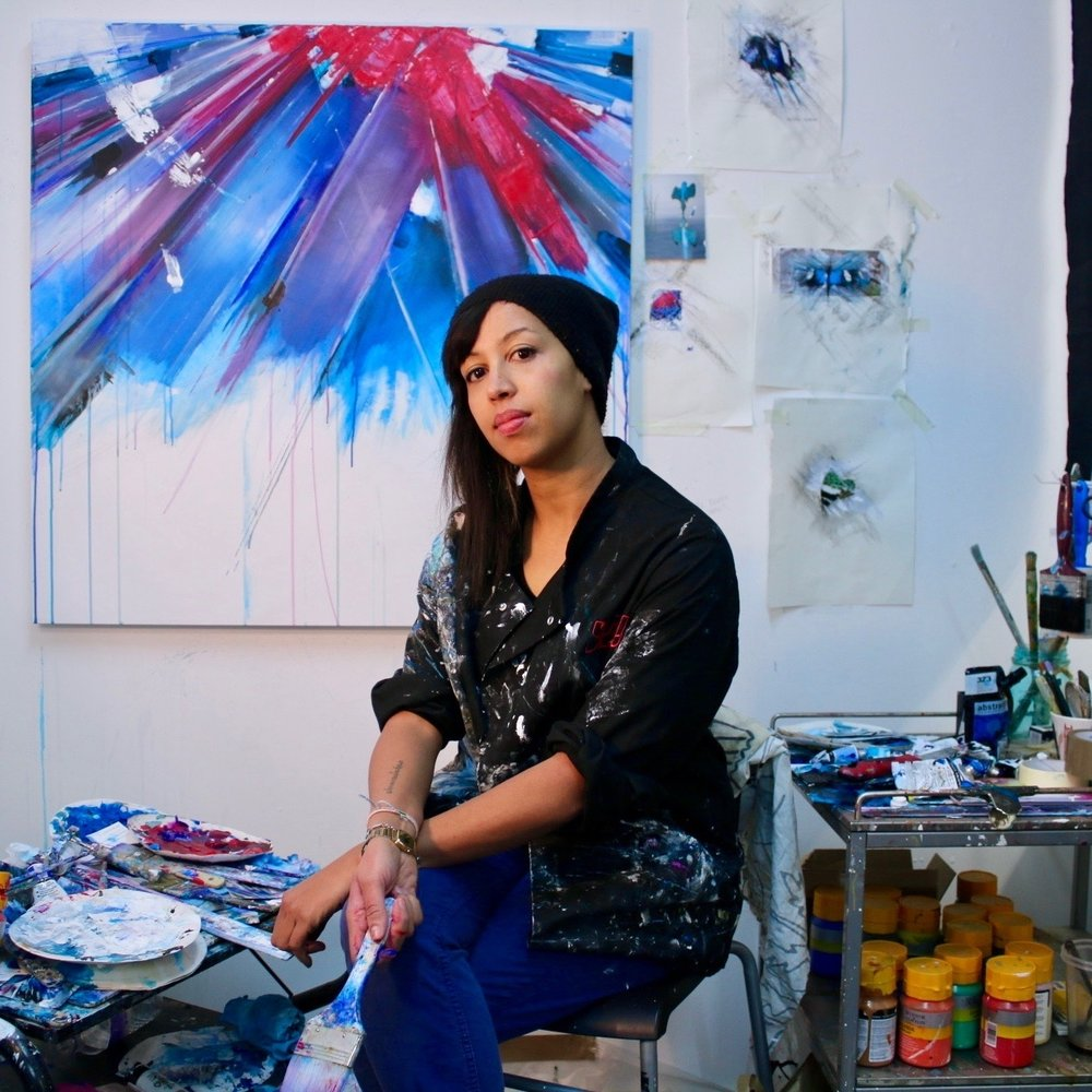 Laura Benetton Studio 137 Featured in Vogue (2016) and with works showing in London and New York, this visual creator uses paint, mix media and acrylic on canvas to create works packed full with energy and movement.