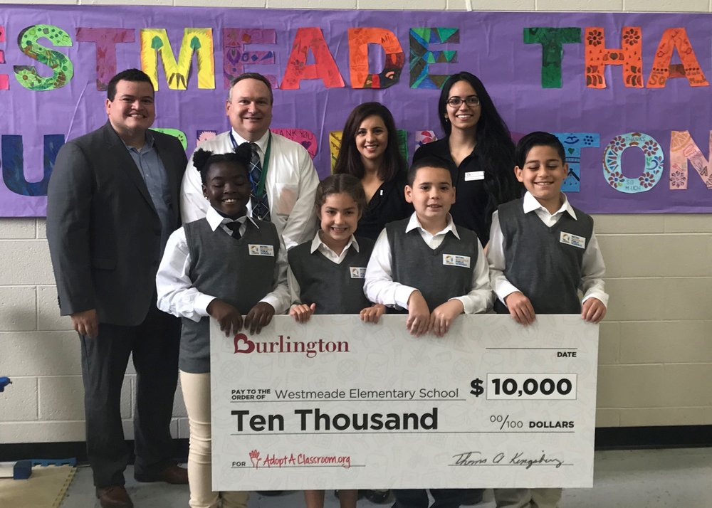 Burlington Donates $10,000 to Westmeade Elementary School