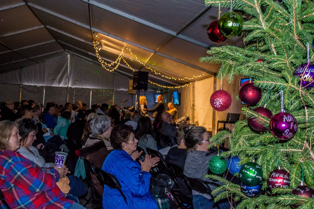 2016 Annual Memorial Tree Lighting-  heated tent located in our office parking lot