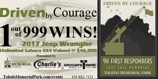 4pm Winner Announced - Driven by Courage Raffle Drawing - Only 999 tickets available Click the Ticket Stub to Buy Online