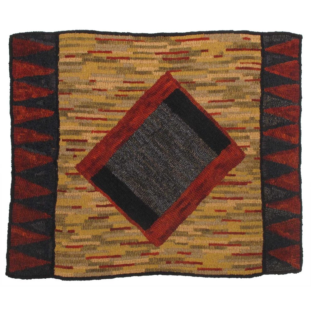 California Geometric Hooked Rug