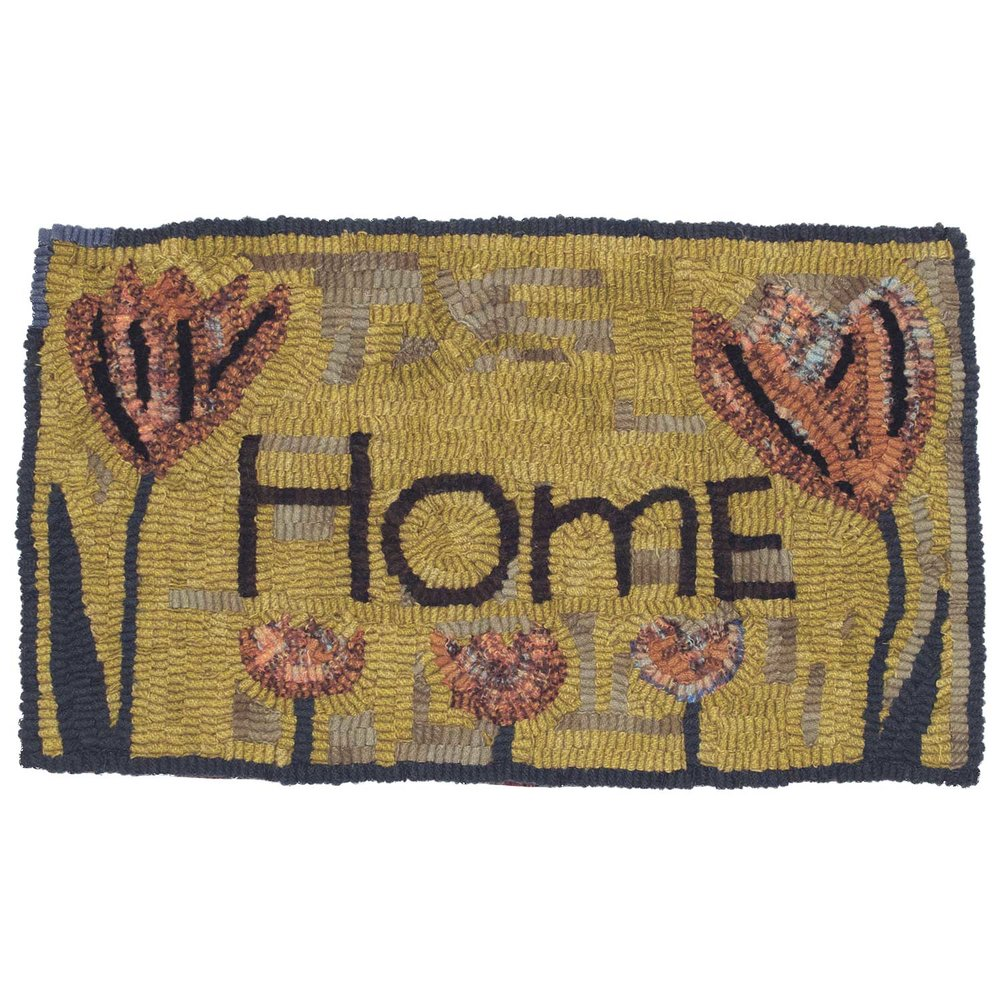 Hooked rug with Home and tulips