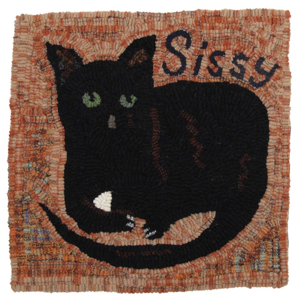 Black Cat Hooked Rug