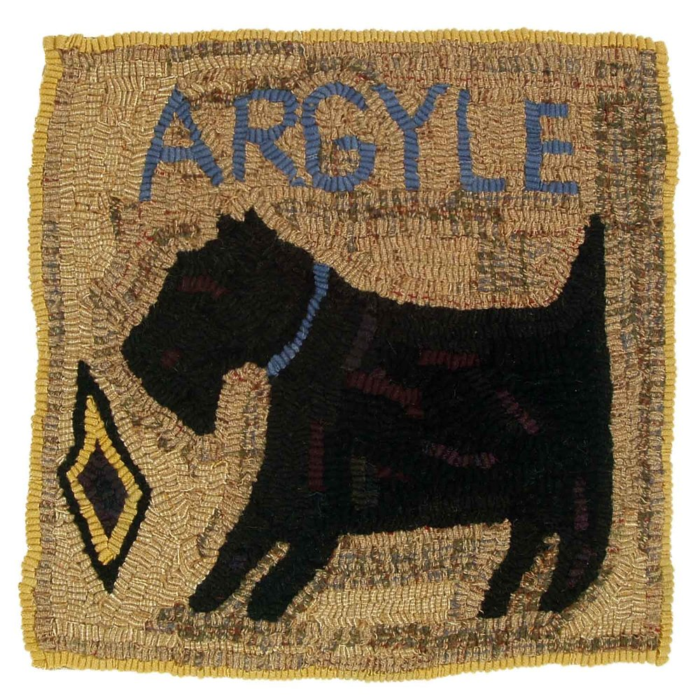 Argyle the Dog Hooked Rug