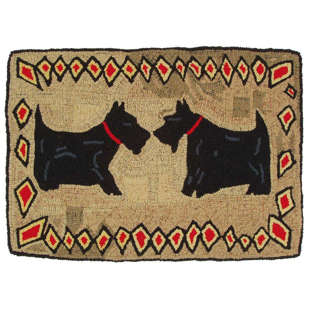 February Scotties Primitive Hooked Rug