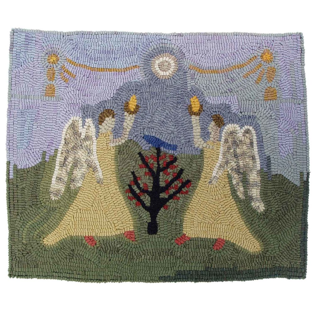 Hooked rug with two angels holding torches