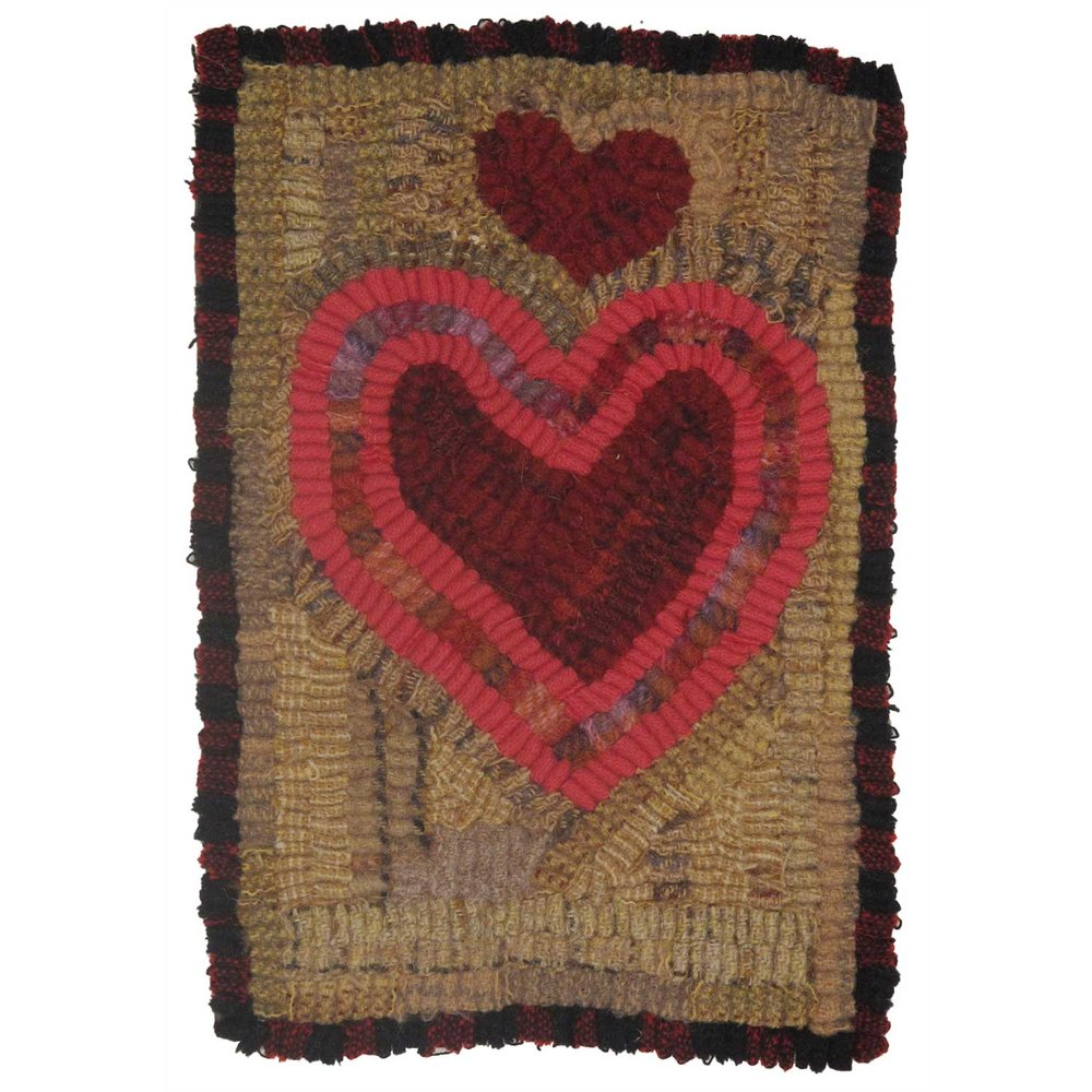 Heart Clouds Valentine Hooked Rug