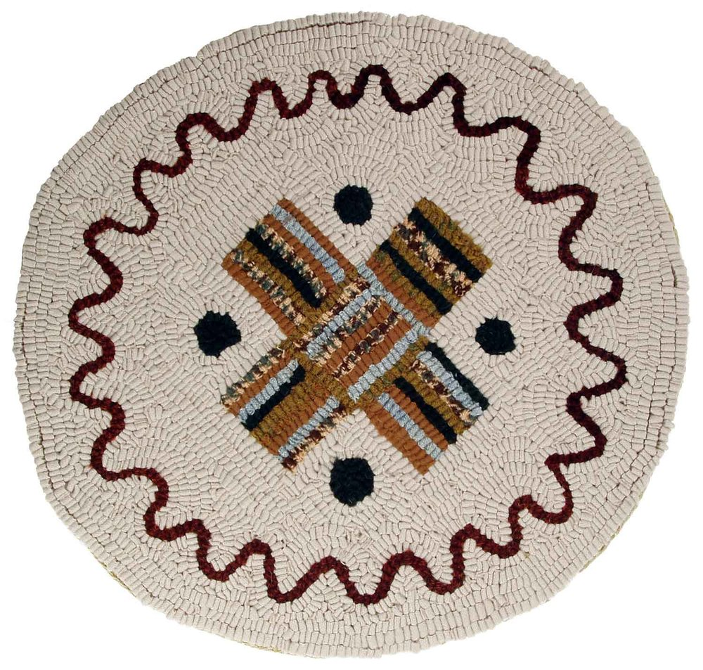 Cartwheel Hooked Rug Chair Pad