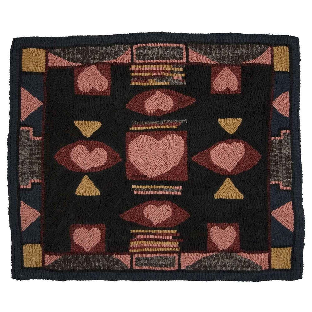 Ivy's Hearts Hooked Rug