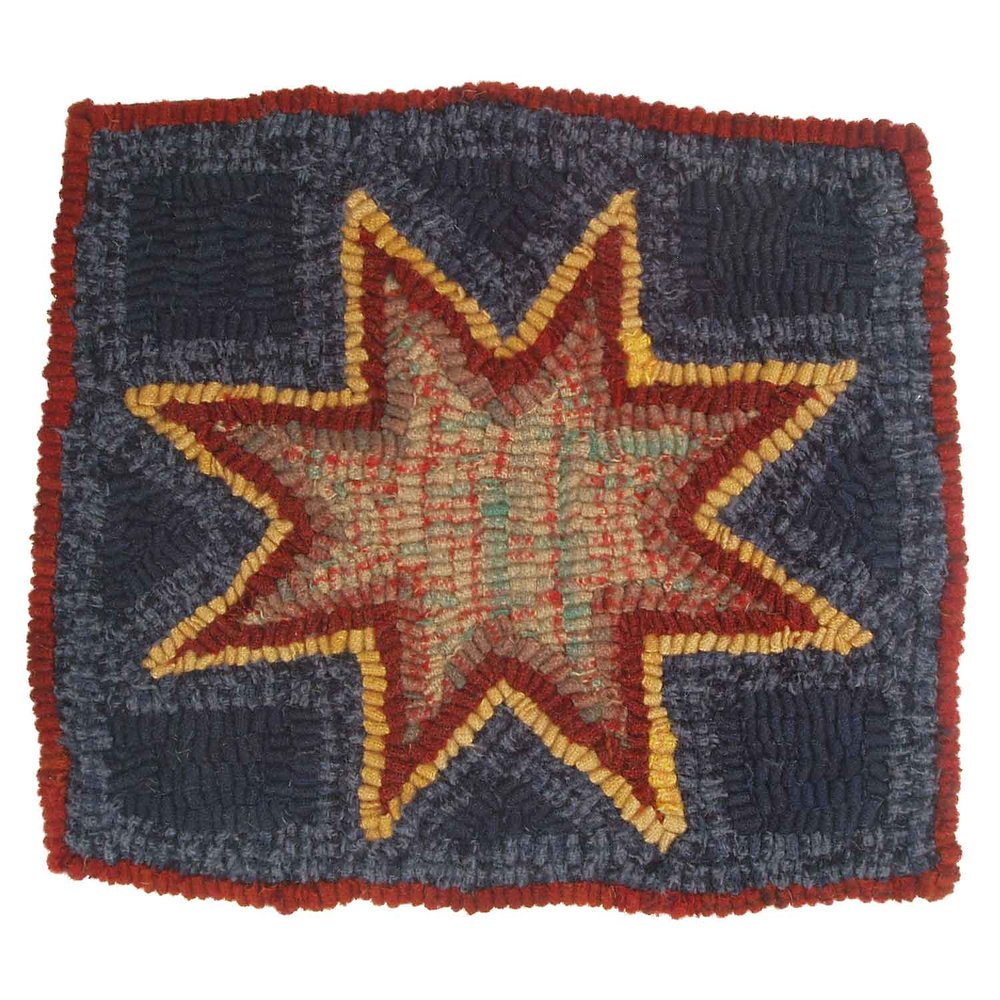 Gold-Edged Star Hooked Rug