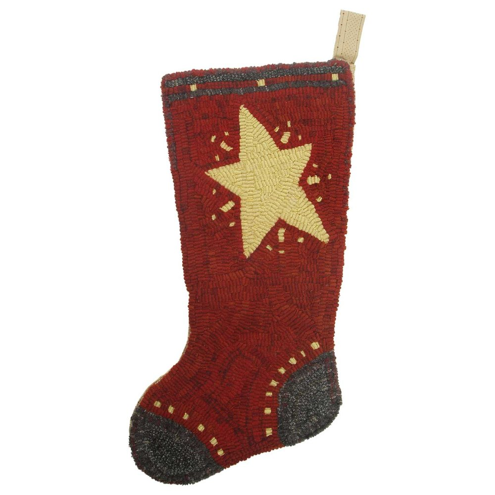 Star Stocking Hooked Rug