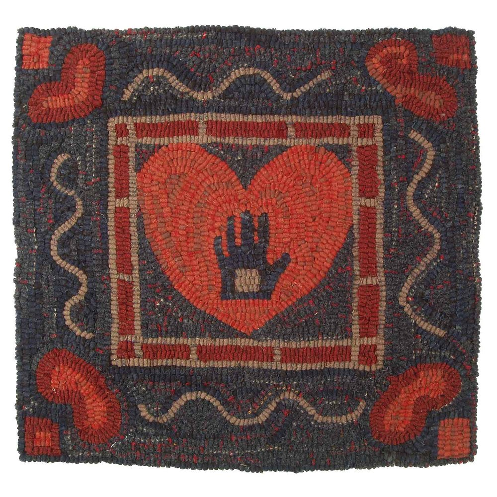 Heart in Hand Hooked Rug