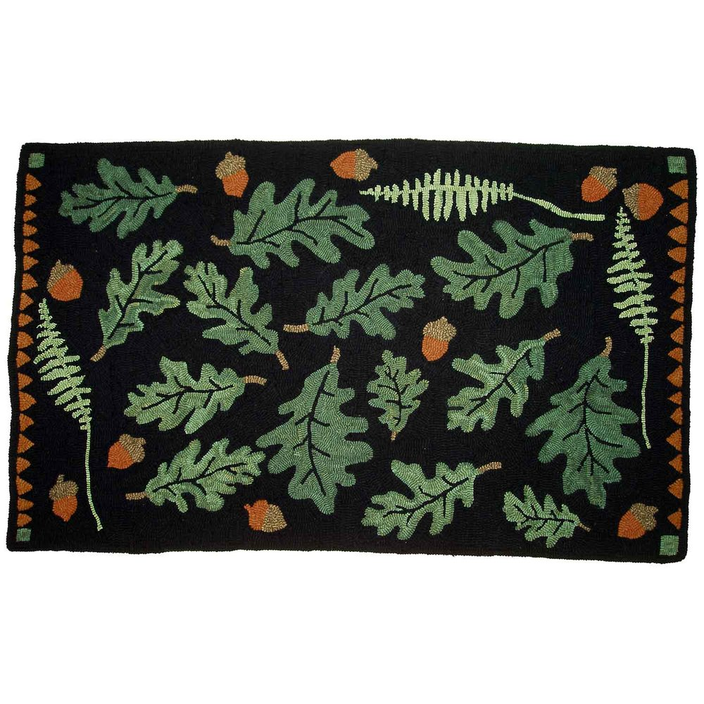 Oak Leaves Hooked Rug