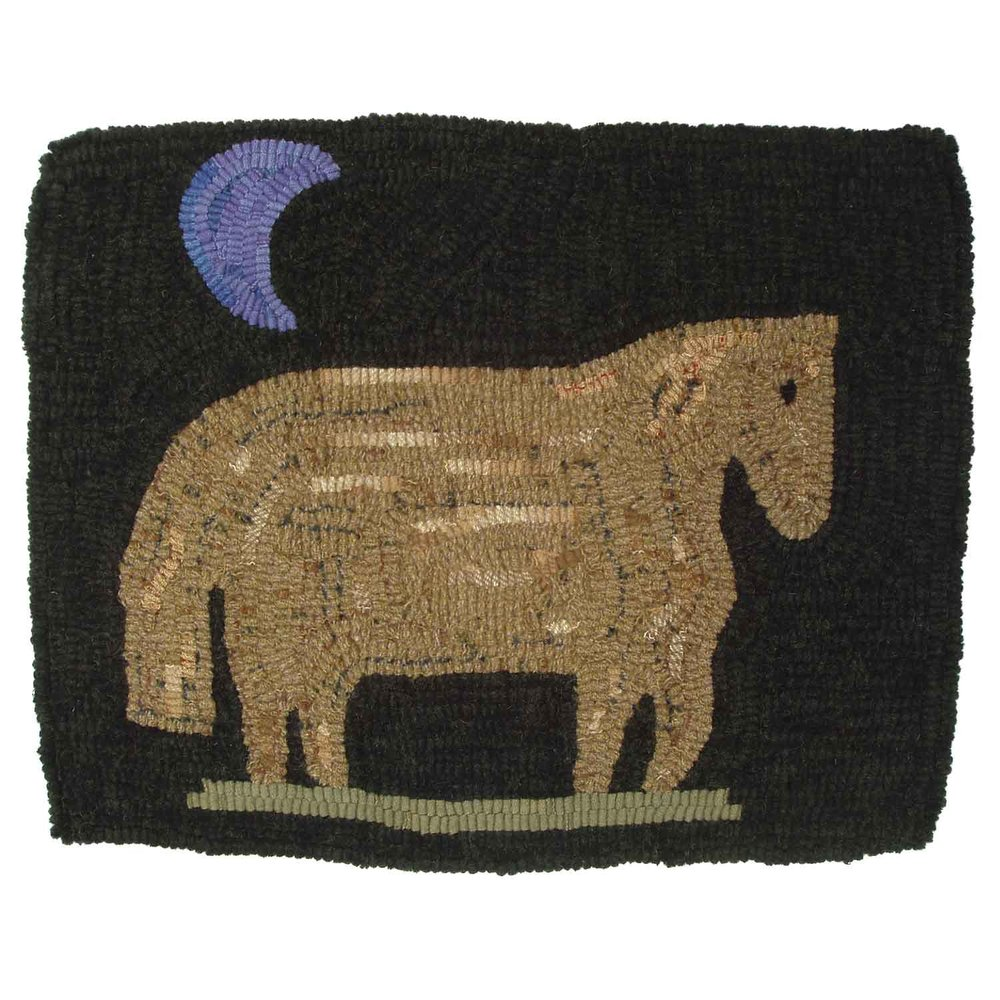 Big Blue Moon Pony Hooked Rug