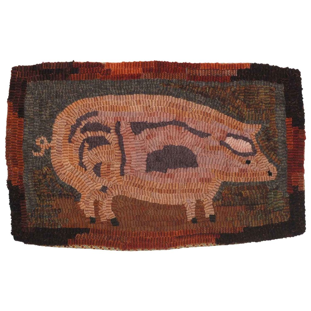 Daisy the Pig Hooked Rug
