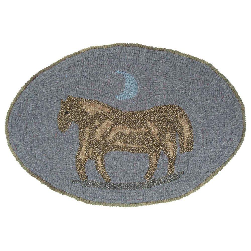 Dusky Pony Hooked Rug