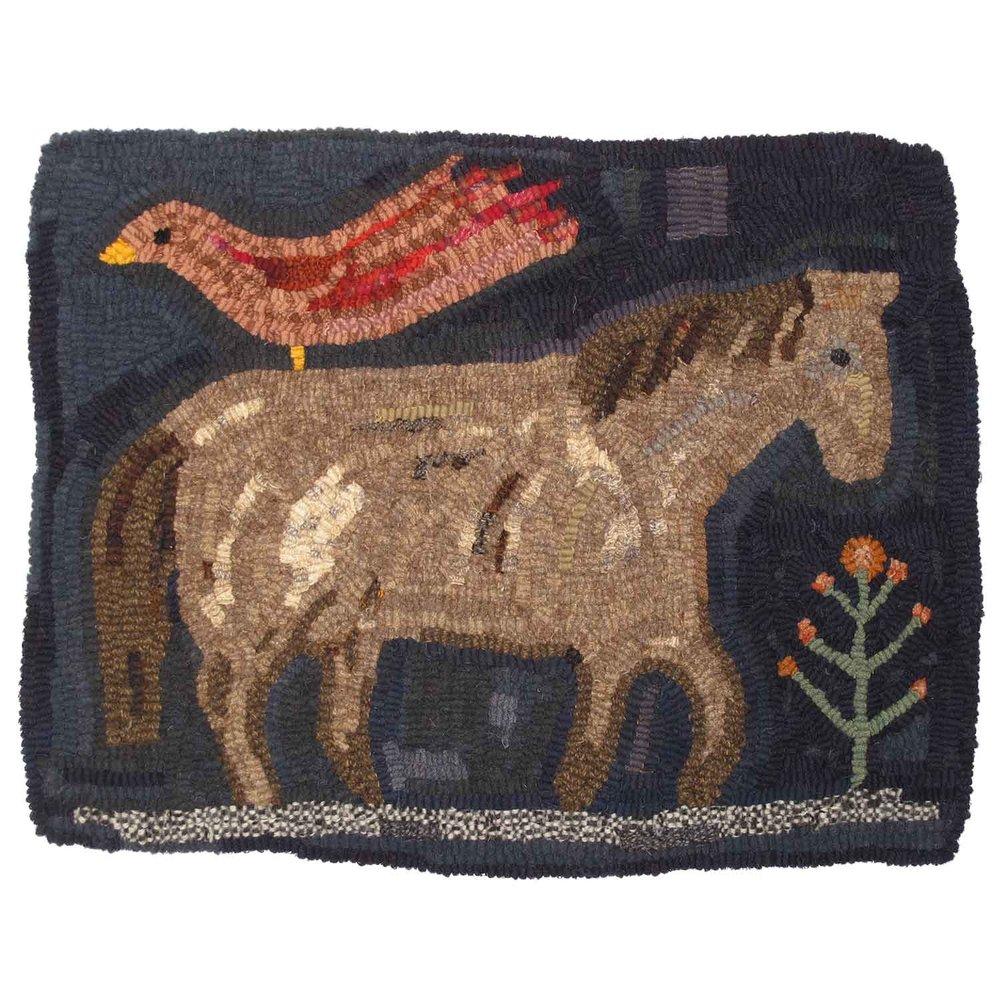 Night Horse Hooked Rug