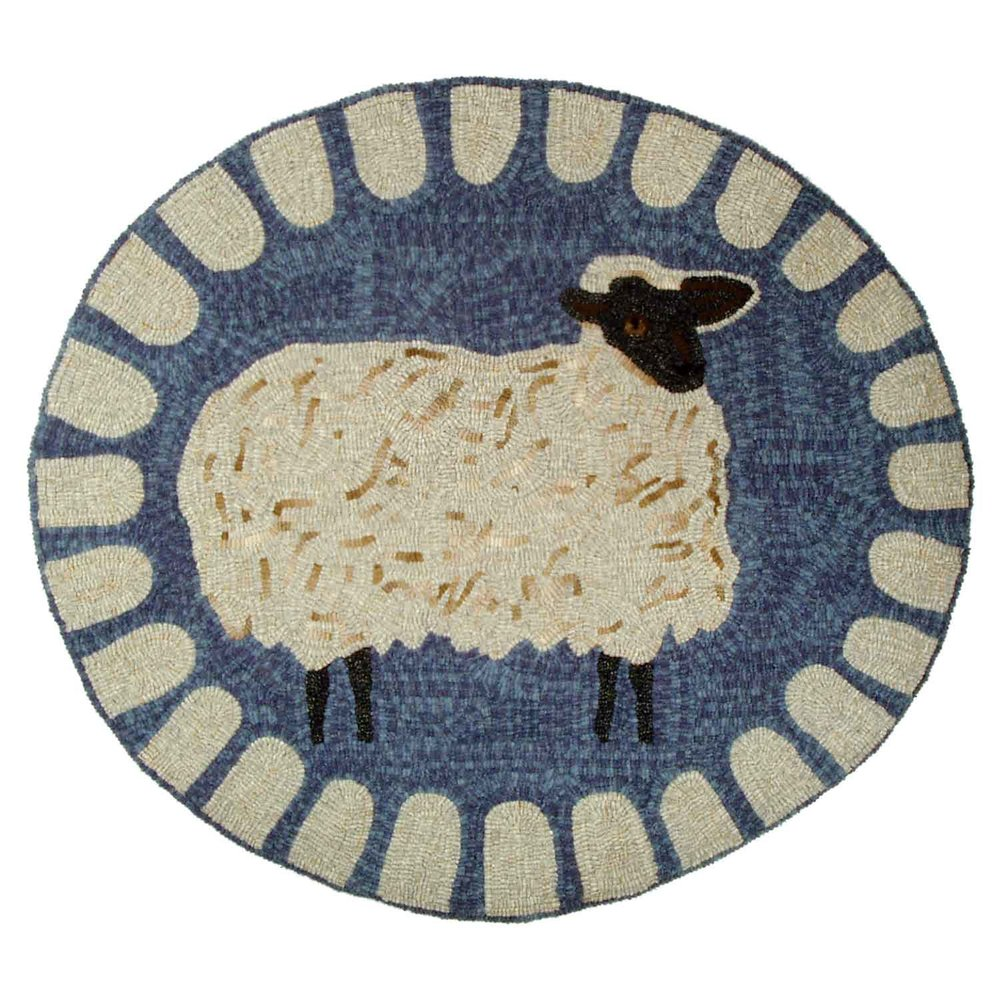 Quiet Shropshire Sheep Hooked Rug