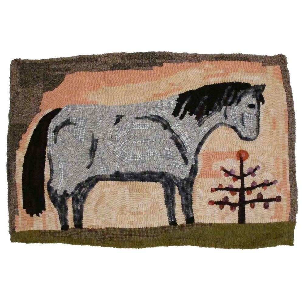 Sweet Bush Pony Hooked Rug