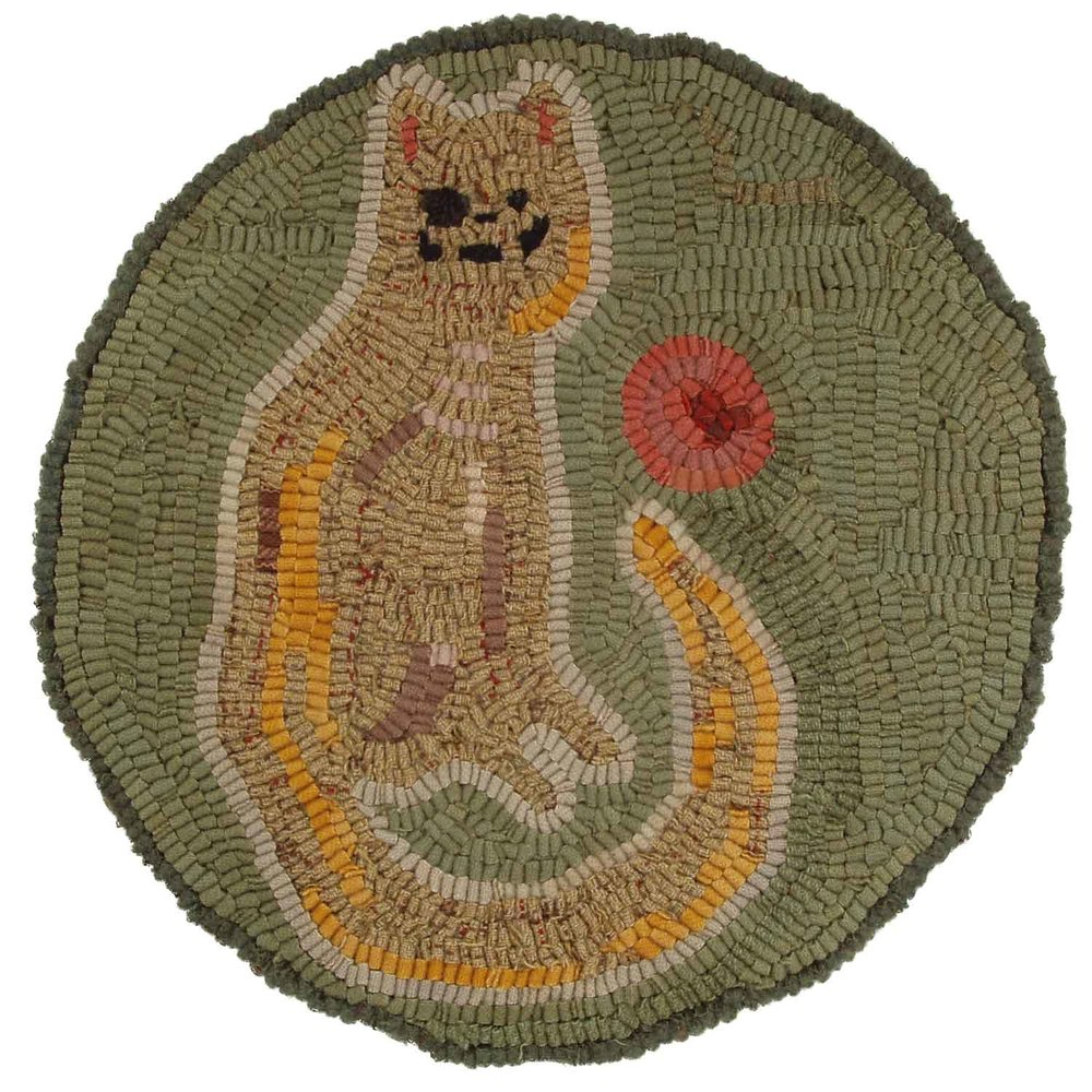 Cat and Ball Hooked Rug