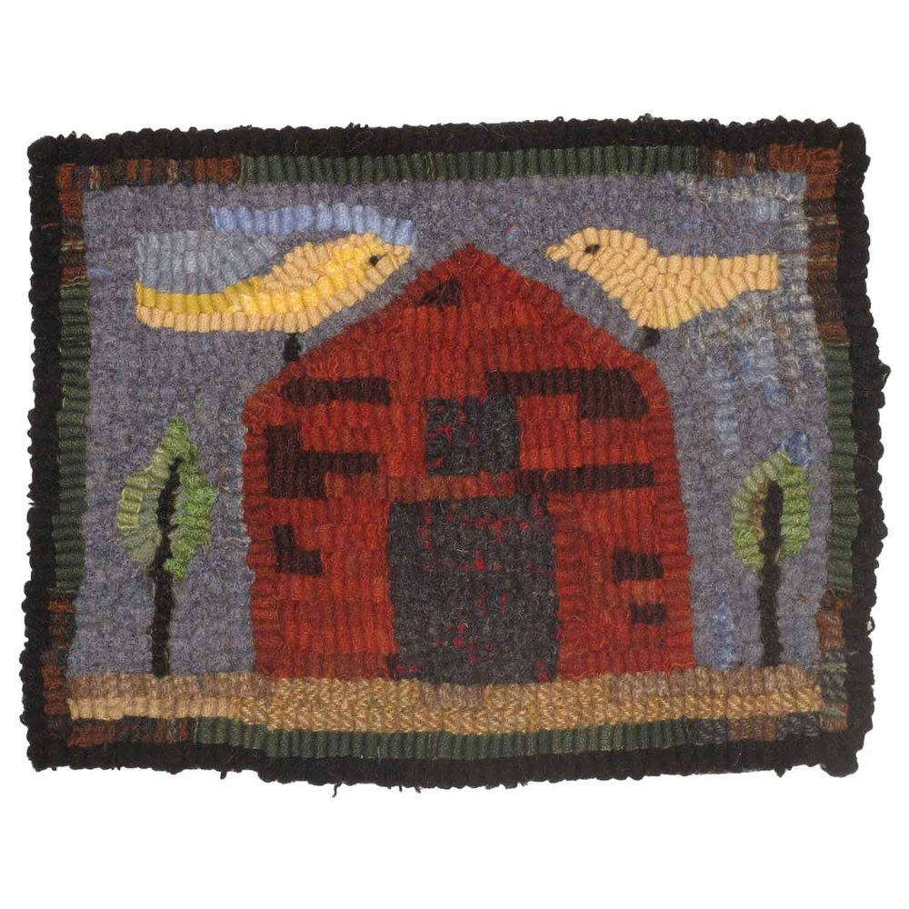 Little Red Barn Hooked Rug