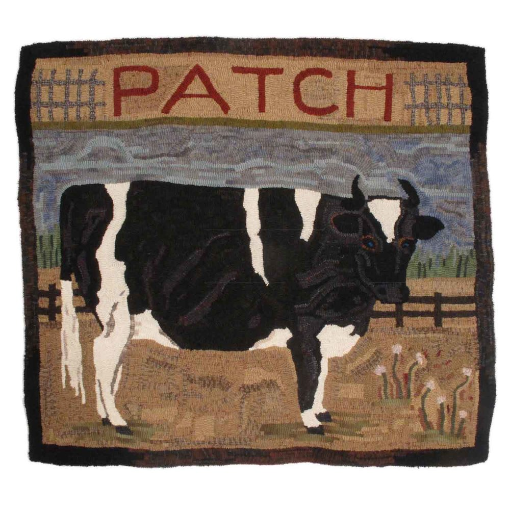 Patch the Ox Hooked Rug