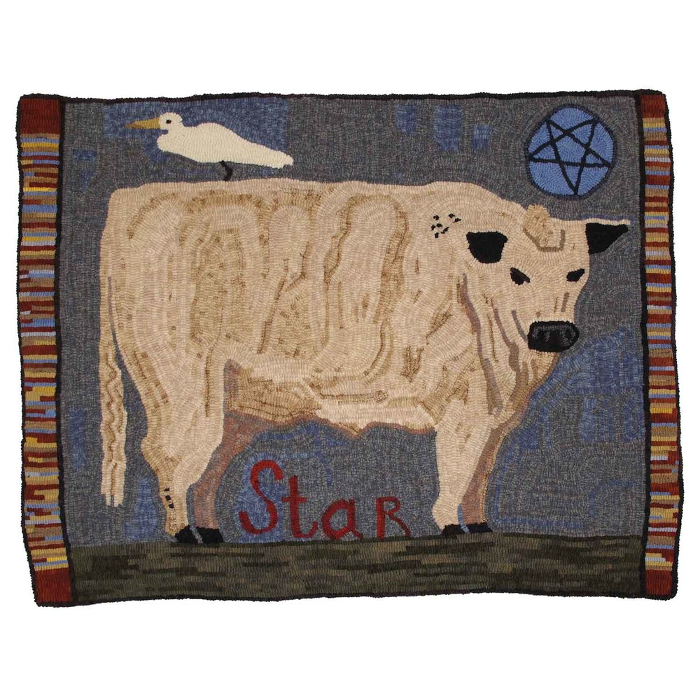 Star the Ox Hooked Rug