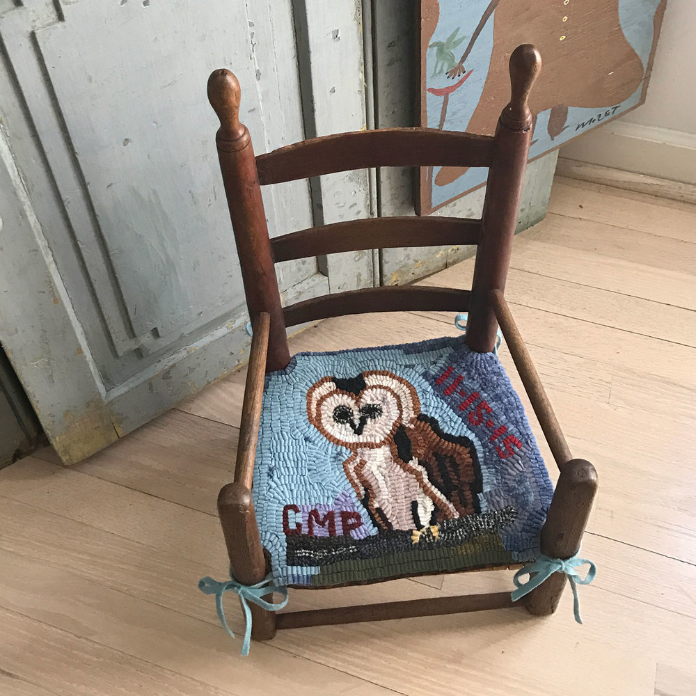 Primitive Owl Hooked Rug Chair Pad