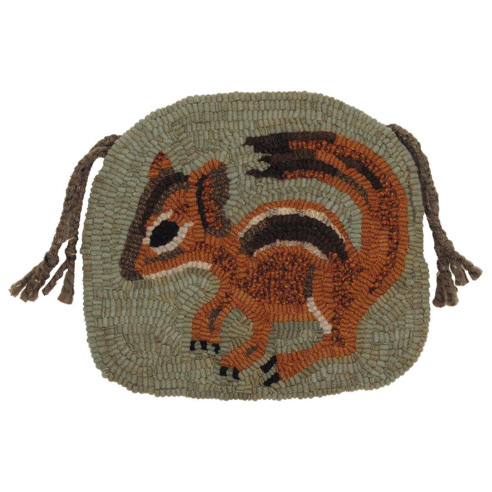 Primitive Chipmunk Hooked Rug Chair Pad