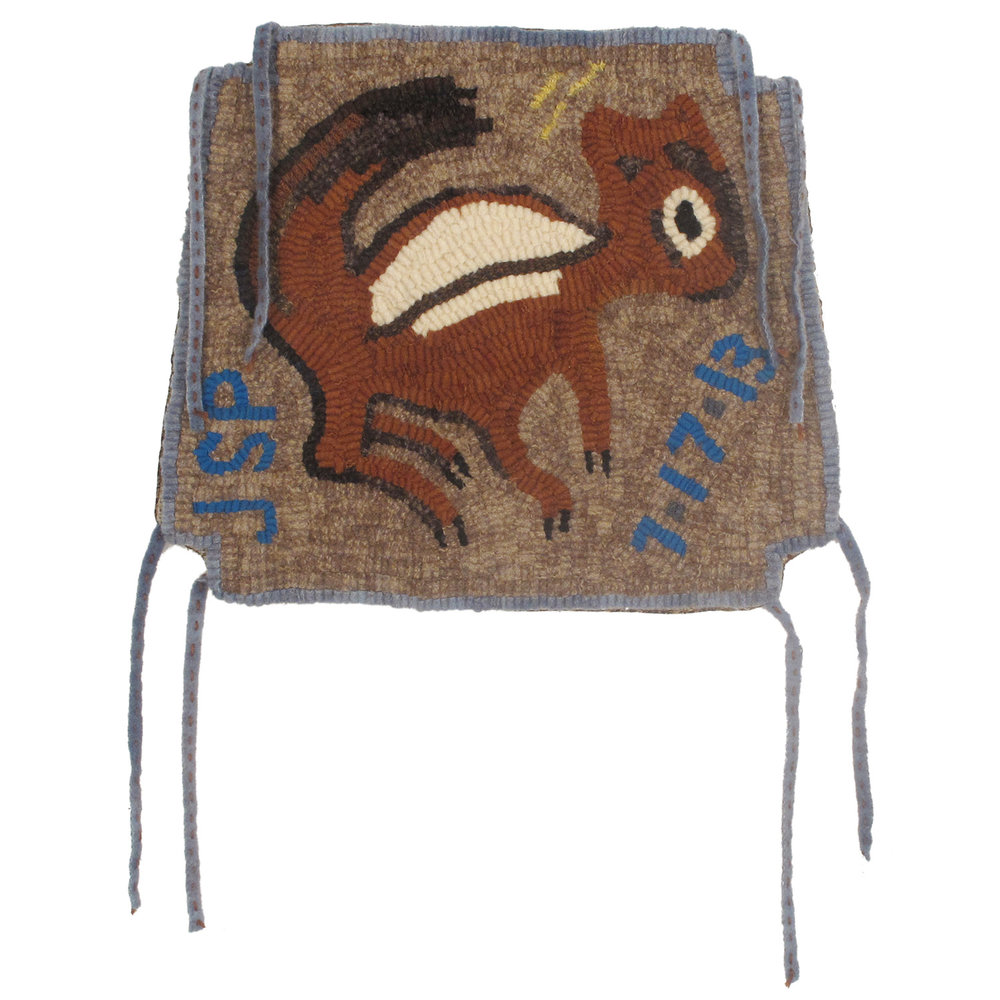 Primitive Chipmunk Hooked Chair Pad