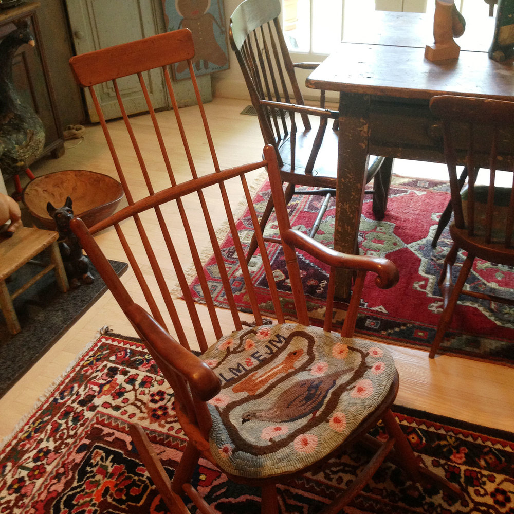 Primitive Hooked Rug Chair Pad