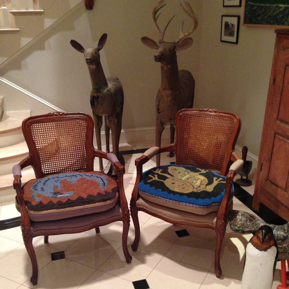 Primitive Hooked Rugs Chair Pillows