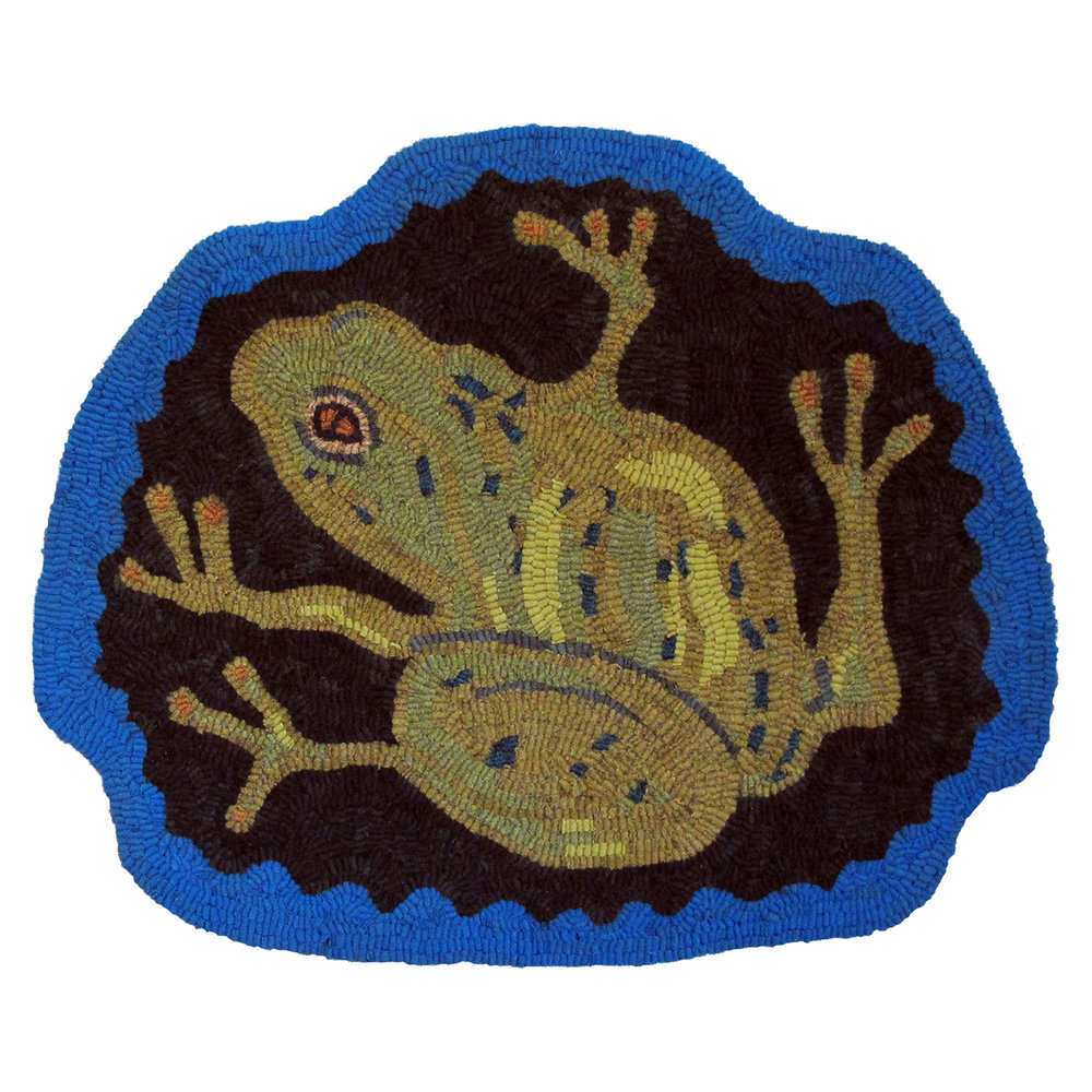 Primitive Frog Hooked Rug Chair Pillow