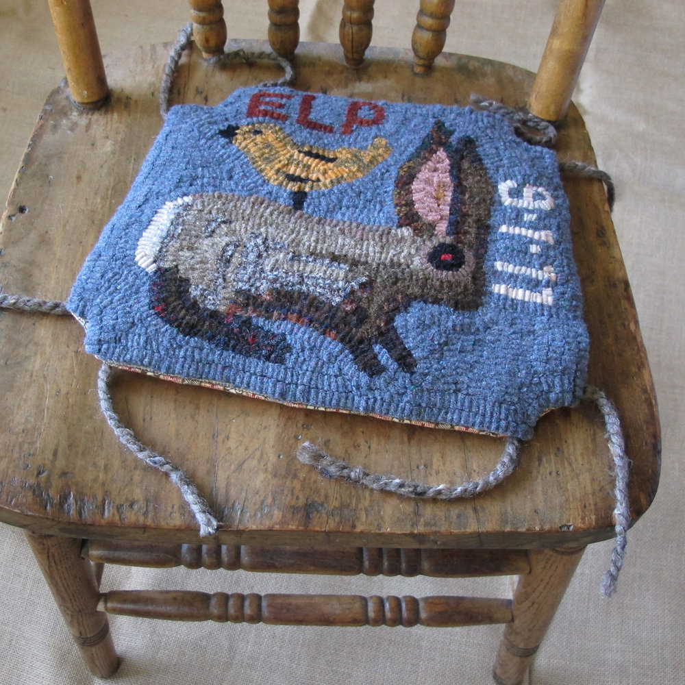 Primitive Bird on a Rabbit Hooked Rug Chair Pad