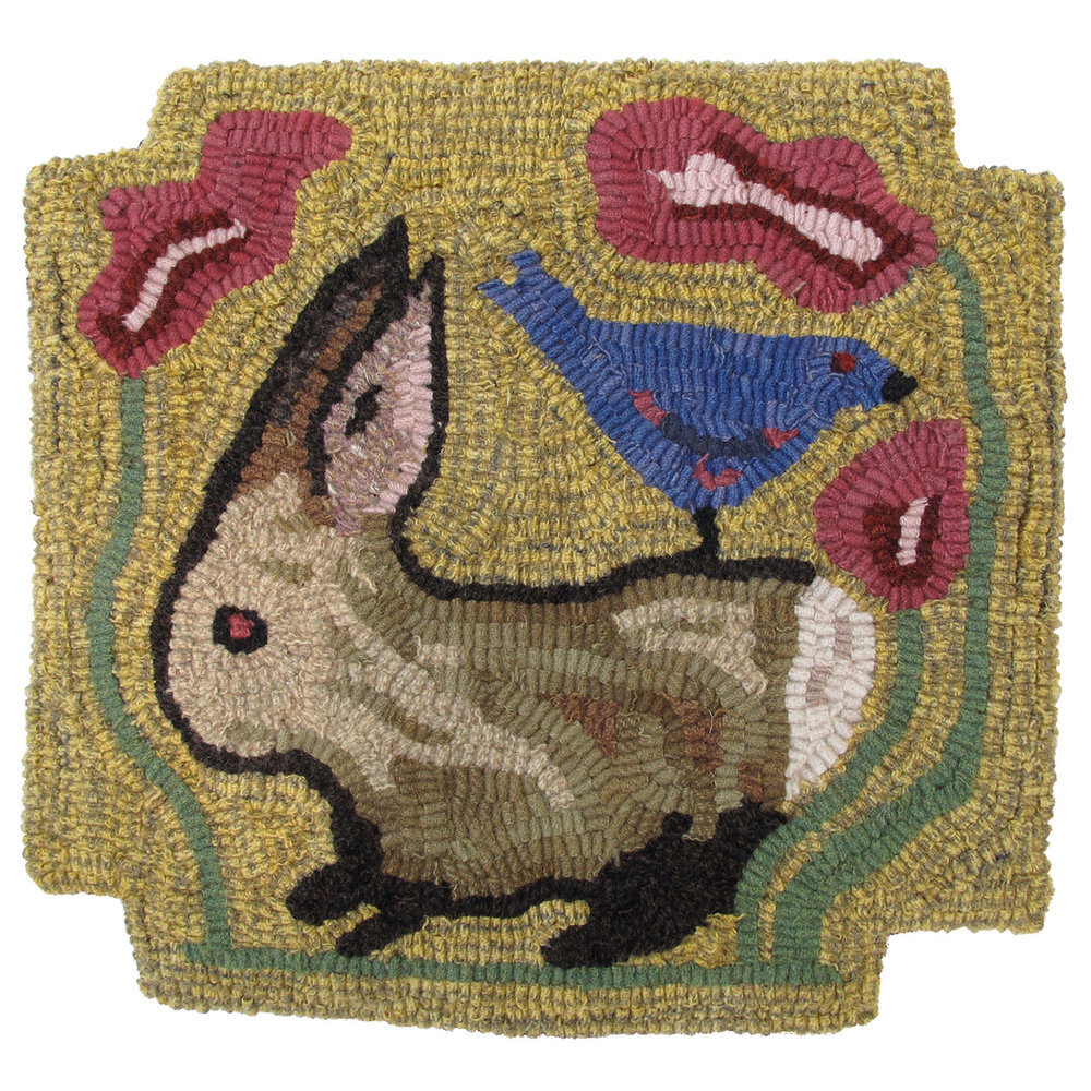 Primitive Rabbit Hooked Rug Chair Pad