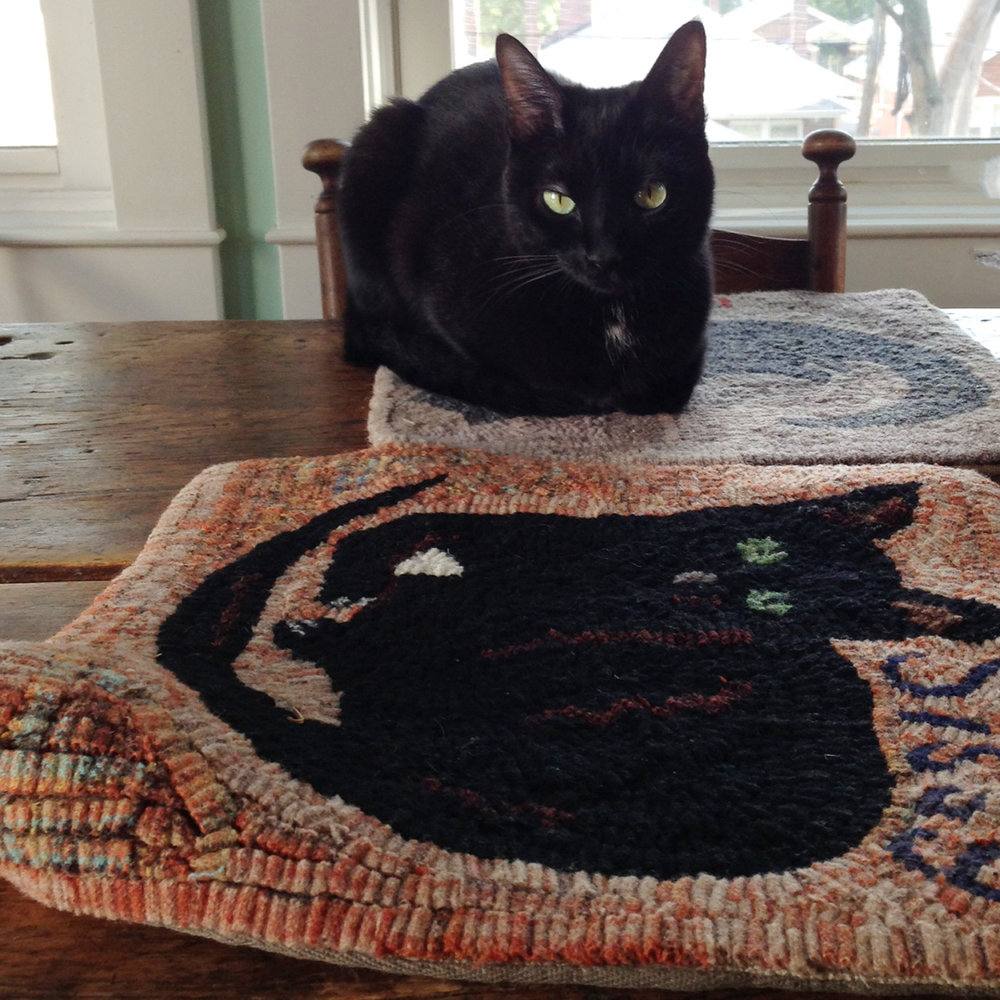 Primitive Cat Hooked Rug
