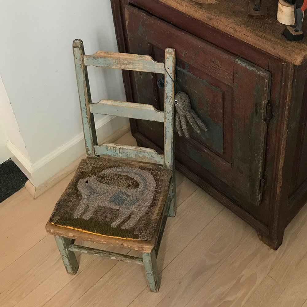 Primitive Cat Hooked Chair Pad