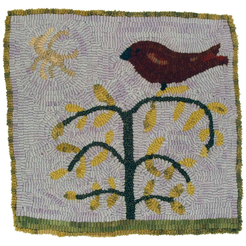 Bird in Tree Charger Hooked Rug