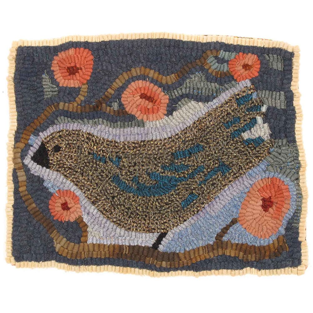 Bird in Blue Hooked Rug
