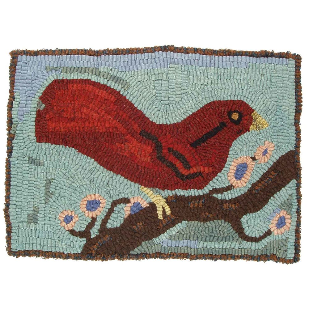 Black Winged Red Bird Hooked Rug