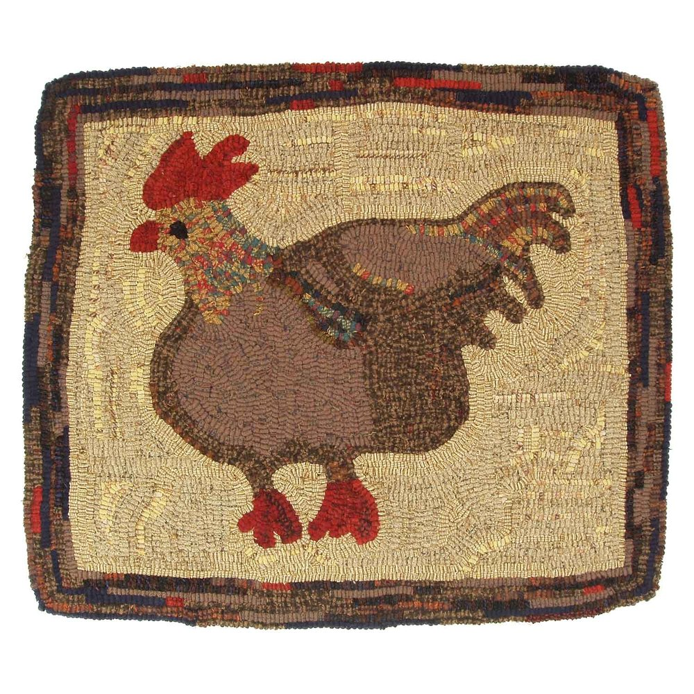 Quick Chicken Hooked Rug