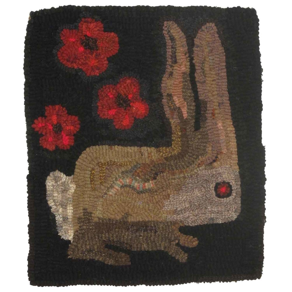 Beatrice the Rabbit Hooked Rug