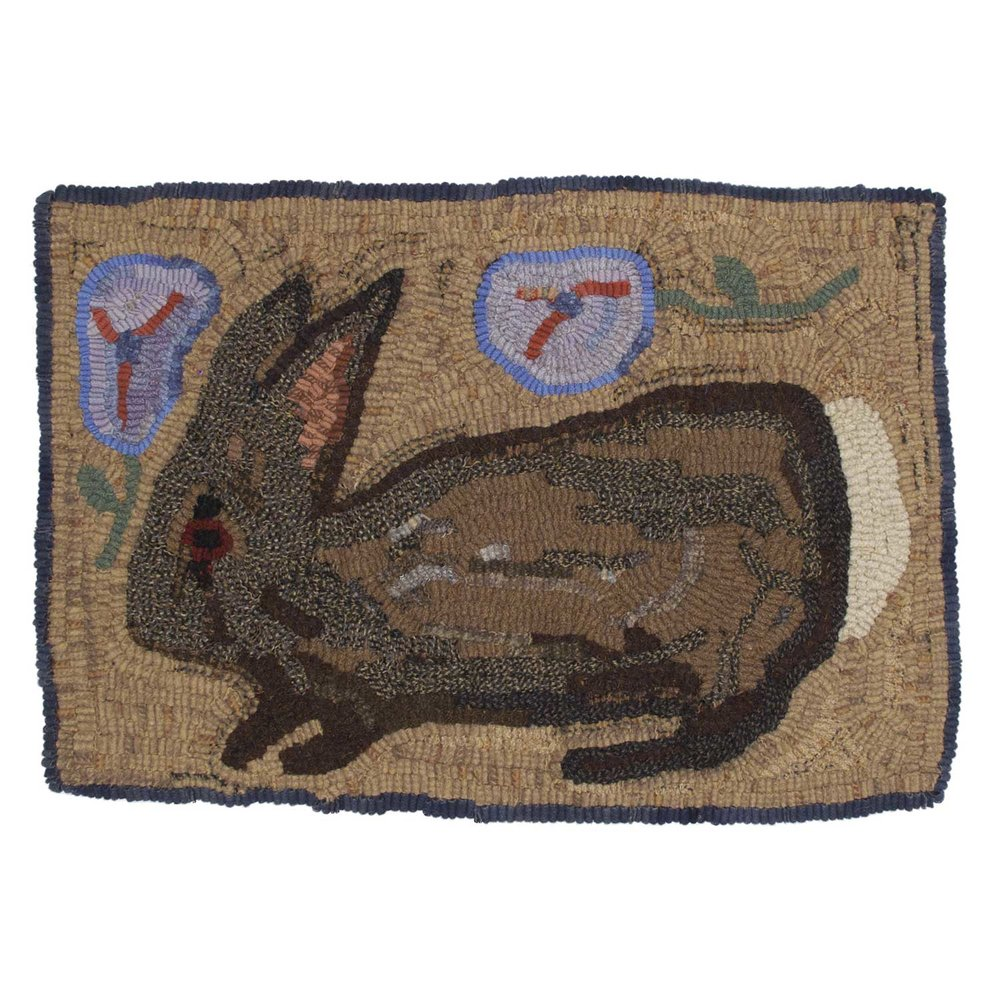 California Rabbit Hooked Rug