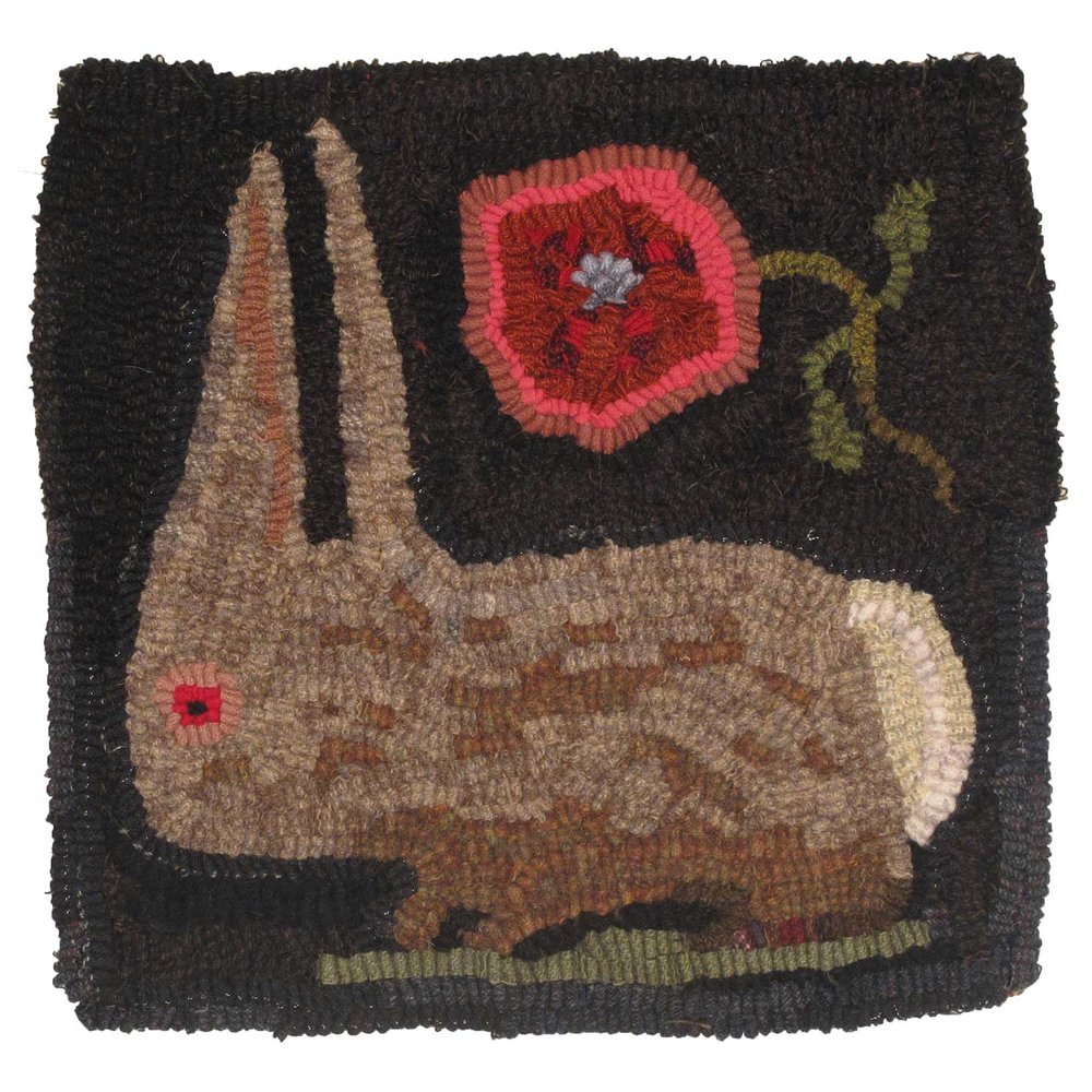 Ella the Rabbit Hooked Rug