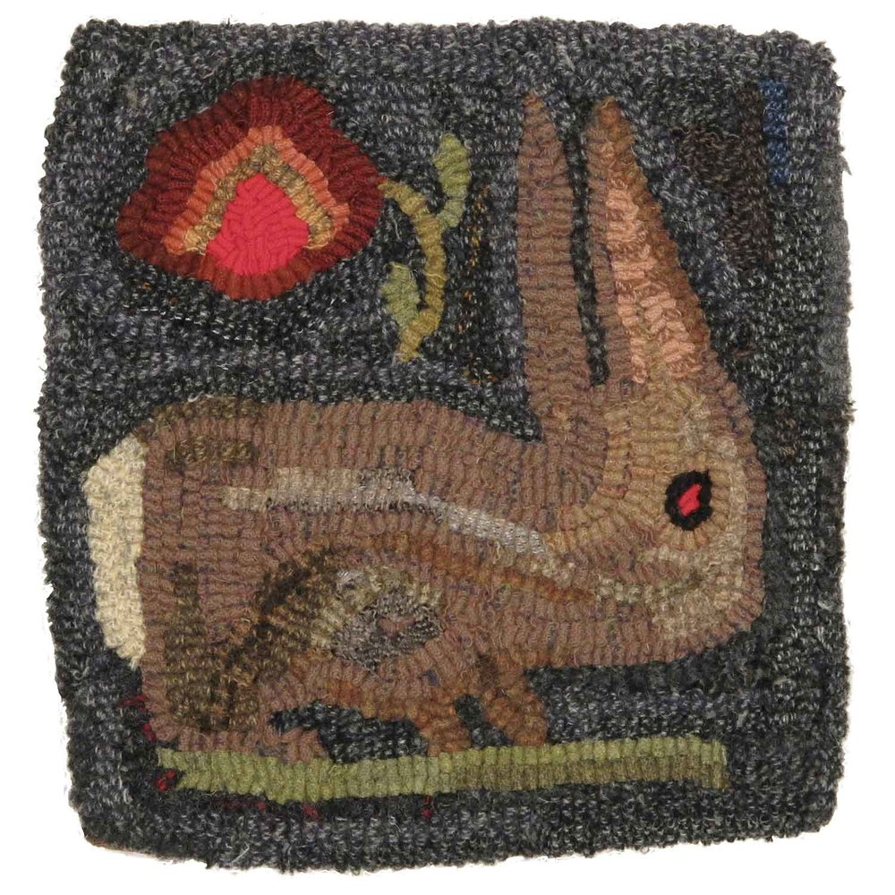 Long Ears Rabbit Hooked Rug