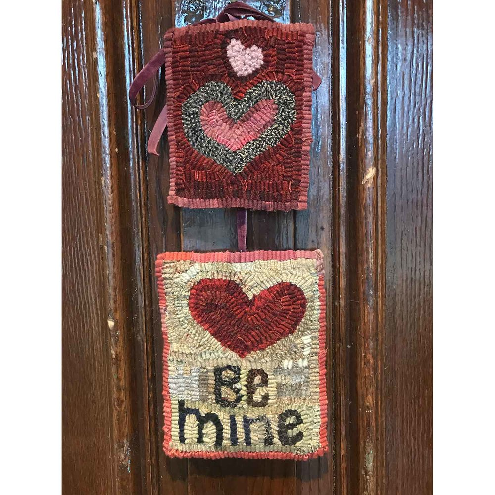 Valentine Hooked Rugs on the Front Door